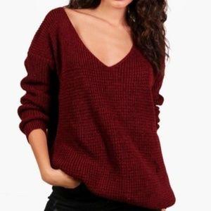 Red Oversized V Neck Sweater